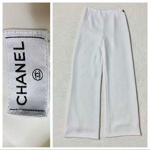 Authentic Chanel Wide Leg Pants White 00C 36
